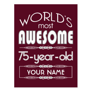 75th Birthday Worlds Best Fabulous Dark Red Postcard
