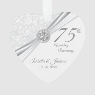 75th or 60th Diamond Wedding Anniversary Keepsake Ornament