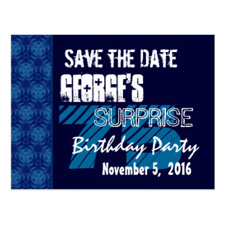 75th Surprise Birthday Save the Date Blue Pattern Postcard