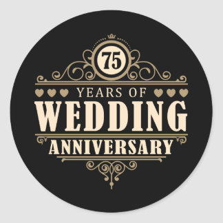 75th Wedding Anniversary Classic Round Sticker