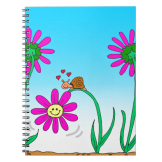 763 romantic snail with flower spiral note book