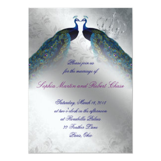 767 Peacock Wedding Invite Blue Silver Vintage Mod