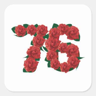 76   67th birthday anniversary number square sticker
