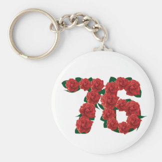 76  76th Birthday Anniversary number Basic Round Button Keychain