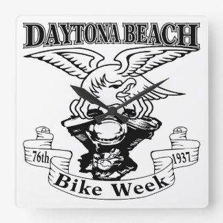 76th Daytona Beach Bike Week Eagle 1937 Square Wall Clock