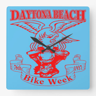 76th Daytona Beach Bike Week Eagle 1937r Square Wall Clock
