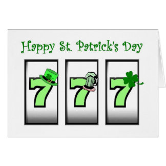 777 Las Vegas Slot Player St Patrick's Day Card