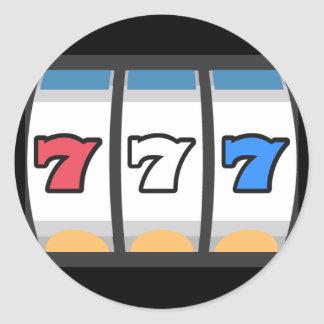 777 Lucky Slot Machine Classic Round Sticker