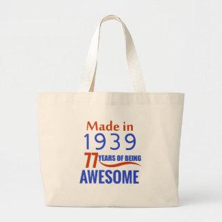 77 birthday design large tote bag