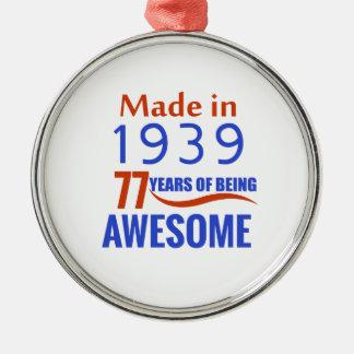 77 birthday design Silver-Colored round ornament