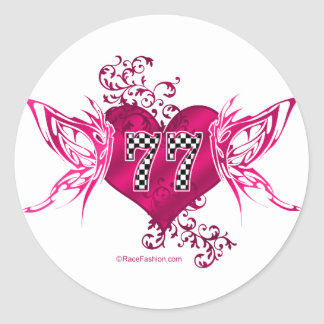 77 race car number classic round sticker