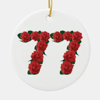 77  red floral ceramic ornament