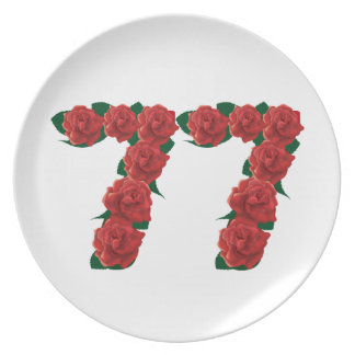 77  red floral plates