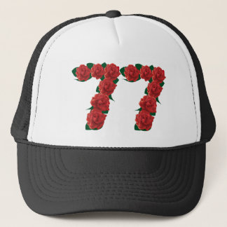 77  red floral trucker hat