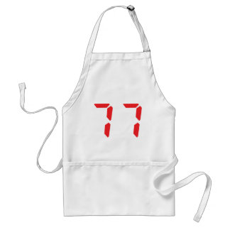 77 seventy-seven red alarm clock digital number standard apron