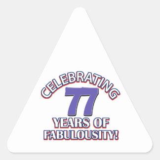 77 years Old birthday designs Triangle Sticker