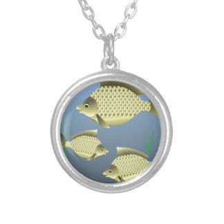 77Fish_rasterized Silver Plated Necklace