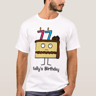 77th Birthday Cake with Candles T-Shirt
