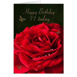 77th Birthday Card with a classic red rose