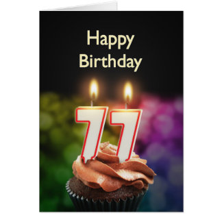 77th Birthday card with Candles