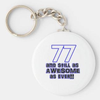 77th birthday design basic round button keychain