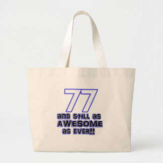 77th birthday design large tote bag