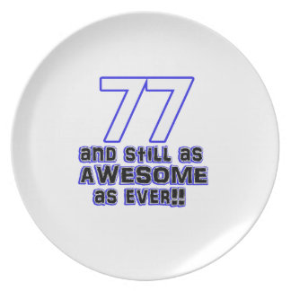 77th birthday design party plates