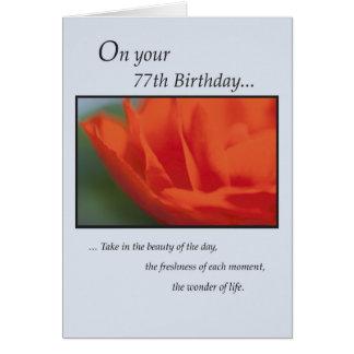 77th Birthday Flower Card