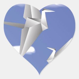 78Paper Birds _rasterized Heart Sticker