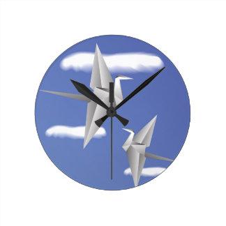 78Paper Birds _rasterized Round Clock