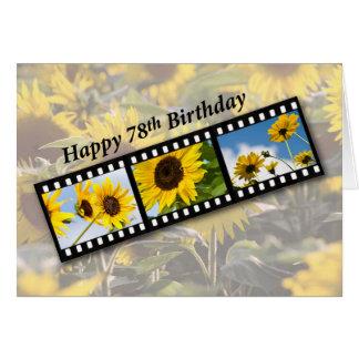 78th Birthday Sunflower Filmstrip Card