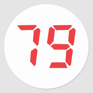79 seventy-nine red alarm clock digital number classic round sticker
