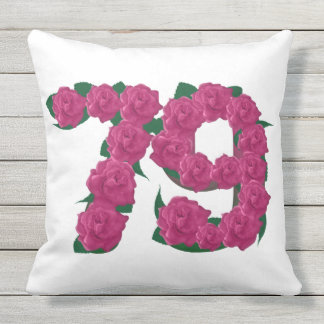79th Anniversary Outdoor Throw Pillow