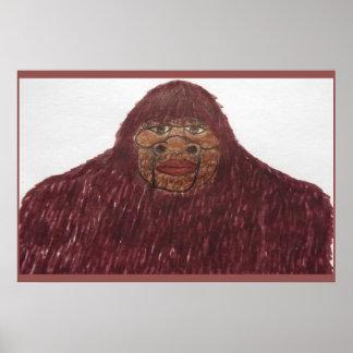 7.6 ft/229 cm tall Sasquatch rb fur Poster