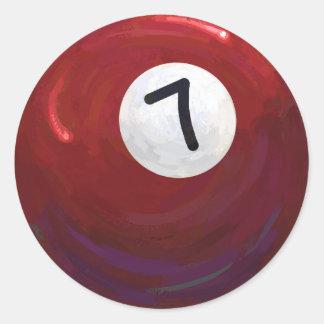 7 Ball Classic Round Sticker