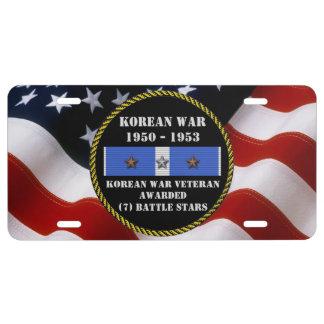 7 BATTLE STARS KOREAN WAR VETERAN LICENSE PLATE