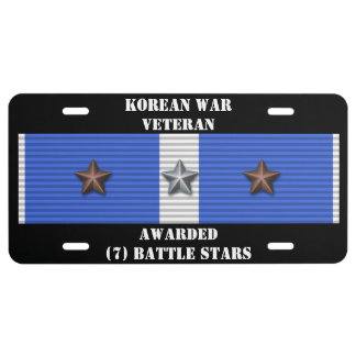 7 BATTLE STARS KOREAN WAR VETERAN LICENSE PLATE