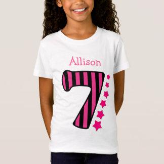 7 Birthday Girl Lace with Stars V08B T-Shirt