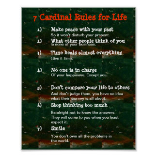 7 Cardinal Rules for LIFE Poster