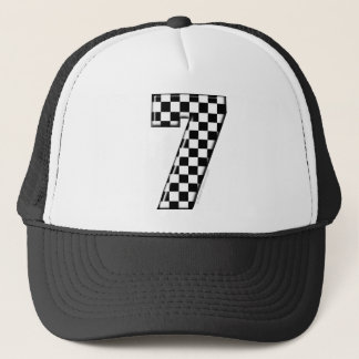 7 checkered auto racing number trucker hat