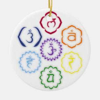 7 Main Chakras in a Circle Ceramic Ornament
