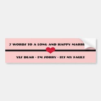 7 mots à un long et heureux mariage autocollant de voiture