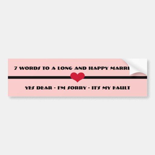 7 mots à un long et heureux mariage autocollant pour voiture