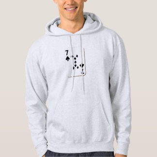 7 of Spades Playing Card Hooded Sweatshirts