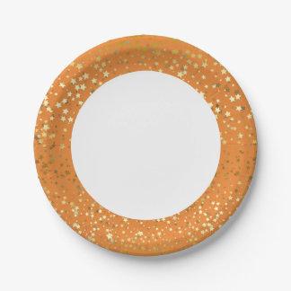 7 paper plates golden stars orange 7 inch paper plate - Decorative Paper Plates