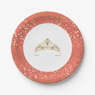 """7"""" Paper Plates-Golden Stars Tiara-Coral Paper Plate"""