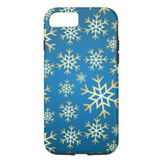 7 plus blue gold snowflake pattern phone case