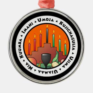 7 Principles of Kwanzaa Silver-Colored Round Ornament