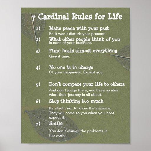 7 règles cardinales pendant la VIE Affiche