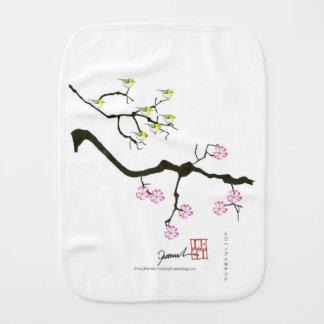 7 sakura blossoms with 7 birds, tony fernandes burp cloth